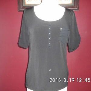 Women's Black Knit Top Shirt short sleeved
